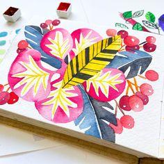 The golden leaf - watercolor ok Khadi paper . . . . . #birdsbutterfliesandblooms #wip #watercolor827 #watercolour_gallery…
