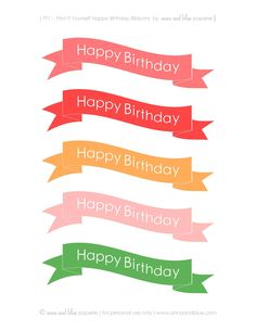 anna and blue paperie: {Free Printable} Happy Birthday Cake Banners -- LOTS of color choices!!
