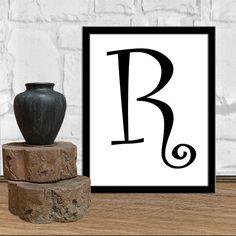 Letters R Print Letters R Digital Monogram Print Initial Print Letters Poster Print Digital Typography Art Print Digital Download 8X10 11x14 by sweetdownload on Etsy