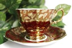 Vintage Royal Albert Red & Gold Leaf Leaves Saucer & Teacup Tea Cup photo