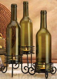 #DIY #Idea // Wine Bottle Votive Candle Set ♥