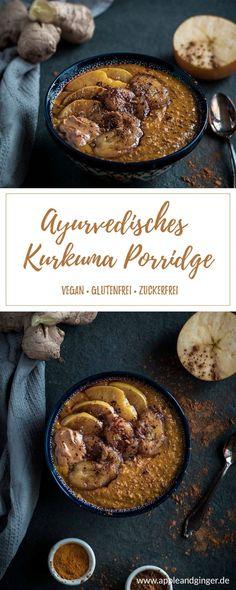 Ein leckeres ayurvedisches Porridge hilft uns dabei, unbelastet in den Tag zu starten. Gerade im Herbst und Winter esse ich gerne Kurkuma und Ingwer, denn Sie helfen unserem Immunsystem, sich gegen die fiesen Erkältungsviren zu stärken. Kurkuma ist außerdem Entzündungshemmend und super für unsere Haut!  #vegan #vegetarisch #ayurveda #porridge #oatmeal #kurkuma #zuckerfrei #laktosefrei #glutenfrei #frühstück