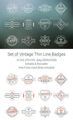 Set of Vintage Thin Line BadgesAi CS2, EPS CS2, Jpeg (50003328px) Editable & Resizable Free font used: Roboto