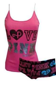 love pink   pj's for women | WebUndies.com LOVE PINK Panther Hot Pink Shortie Pajama