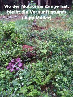 Wo der Mut keine Zunge hat, bleibt die Vernunft stumm (Jupp Müller) Jupp, Plants, Mathematical Analysis, Happy Life, World, Quotes, Plant, Planets