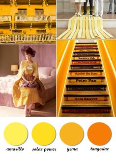 Colour board. Yellow, solar power, orange, tangerine