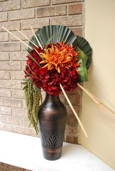 Tropical Red Hydrangea Arrangement by StemsandThings on Etsy, $165.00