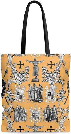 420007febd Sac cabas shopping motif Toile de Jouy Médiéval orange #toile #de#jouy#feuille#fleur#blanc#design#style#sac#cabas#shopping#tissu#toiledejouy#simili#cuir#hand  ...