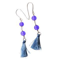 Silvesto India Purple Quartz Gemstone 925 Sterling Silver Tassel Earring PG-18083   https://www.amazon.co.uk/dp/B01E8OOWXY