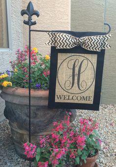 Custom personalizedmonogrammed burlap welcome garden by Fleurdephx