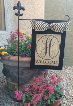 Burlap Garden Flag Welcome Flag Matching Chevron Tabs and Bow
