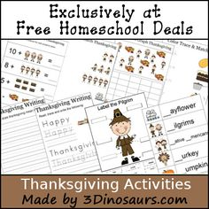 This free printable worksheet set is created by Cassie of 3 Dinosaurs! Thanksgiving: Free Thanksgiving Activities Printable Pack – 16 Pages Thanksgiving Worksheets, Thanksgiving Preschool, Thanksgiving Ideas, Holiday Activities, Preschool Activities, Kids Education, Kids Learning, Homeschooling Resources, Homeschool Curriculum