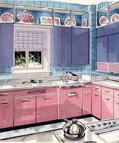 1952 Weirton steel kitchen... in pink and lilac steel cabinets...