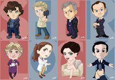 BBC Sherlock Art Card Set by kevinbolk Sherlock Fandom, Sherlock Cartoon, Sherlock Holmes Series, Sherlock Holmes Bbc, Moriarty, Sherlock Anime, Sherlock Cast, Sherlock John, Benedict Sherlock