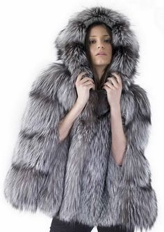 silver fox fur cape coat