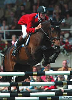 Peter Wylde, a member of the United States Equestrian Team, riding Fein Cera at the 2002 World Equestrian Games. He won the individual bronze medal, and Fein Cera was named best horse. Photo by Mary Phelps