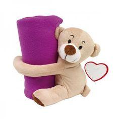 "Plush bear ""Rene"" with blanket, purple"