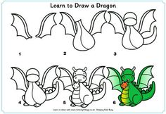 Drawing Step By Step Fun, printable step by step drawing lessons for kids! Learn how to draw animals, cars, trees and flowers and more with an easy, step by st. Doodle Drawings, Animal Drawings, Easy Drawings, Drawing Lessons For Kids, Art Lessons, Dragon Art, Dragon Crafts, Learn To Draw, Learn Drawing