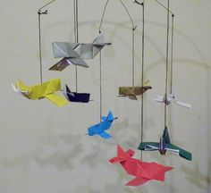 Origami Airplane Mobile by ImagiroChainmail on Etsy, $13.45