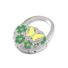 """Amico Rhinestone Inlay Green Florals Yellow Butterfly Pattern Padlock Foldable Handbag Hook Hanger by Amico. $6.12. Unfolded Height : 8.3cm / 3.3"""";Folding Size : 4.8 x 3.9 x 1cm / 1.9"""" x 1.5"""" x 0.4"""" (L*W*T);Suitable for : Lady. Color : Green,Pink,Silver Tone,Yellow;Material : Metallic,Rubber,Rhinestone. Pattern : Floral Prints,Butterfly Pattern;Brand : SourcingMap;Size Type : Regular. Net Weight : 45g;Package Content : 1 x Handbag Hook. Size : Small;Height : 8.3cm / 3.3"""";Style ..."""