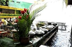 Villa Escudero, Philippines. A waterfall restaurant!