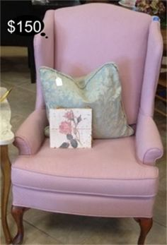Dusty pink rose wing back accent chair.  Yesterdays Treasures Consignment  5829 Lone Tree Way Suite J  Antioch  925 - 233 - 4547  www.Yesterdayststore.com  Info@Yesterdayststore.com