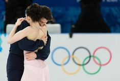 Tessa Virtue and Scott Moir at the conclusion of their Sochi 2014 Olympic program at Iceberg Skating Palace.