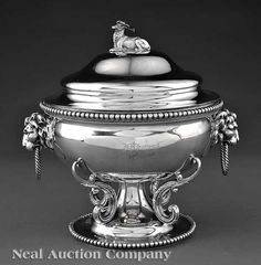 New Orleans Coin Silver Tureen, Adolphe Himmel (wc. 1852-1877) for Hyde & Goodrich (wc. 1828-1861),