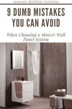 Learn 9 dumb mistakes you can avoid when buying or installing waterproof shower and bathroom wall panels. For nationwide shower pan and wall supplies call Innovate Building Solutions at Cheap Bathroom Remodel, Shower Remodel, Bathroom Ideas, Bathroom Remodeling, Bath Remodel, Basement Remodeling, Bathroom Things, Bathroom Makeovers, Basement Ideas
