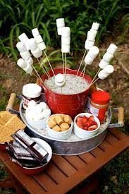 Set up an awesome S'mores station using bucket, skewers, marshmallows etc. I… Set up an awesome S'mores station using bucket, skewers, marshmallows etc. It's fun and your guests can make their own using their favourite ingredients. Bbq Party, Party Fiesta, Lake Party, Party Fun, Beach Party, Garden Parties, Outdoor Parties, Summer Parties, Backyard Parties