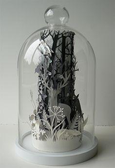 Beautiful paper cuts instead of stuffed squirrels in a jar. Neo-Victorian!