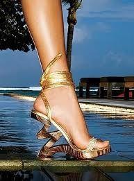gold unique shoes