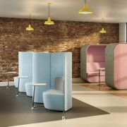 A relaxing office environment? Shuffle Breakout Seating provides companies with an informal and relaxed meeting space that allows for endless configuration possibilities. The range is available as a high and low back option, with the contoured lines design enhancing the acoustic properties, absorbing background nose and also creating an element of privacy. Very cool and relaxing place for break out meetings. huntsoffice.co.uk