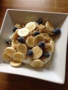 Breakfast bowl! Greek yoghurt , quinoa and fruit!