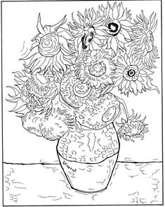 adult vincent van gogh 12 tournesols dans un vase coloring pages printable and coloring book to print for free. Find more coloring pages online for kids and adults of adult vincent van gogh 12 tournesols dans un vase coloring pages to print. Sunflower Coloring Pages, Cool Coloring Pages, Adult Coloring Pages, Coloring Books, Coloring Sheets, Kids Coloring, Vincent Van Gogh, Van Gogh Art, Art Van