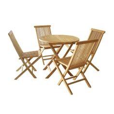 Puutarhan pöytäsetti, 239,95€. Tiikkipuu on kestävä materiaali joka ei tikkuunnu. Kestää myös hyvin vettä ja säätä ilman erityistä huoltoa. Tuolit ja pöytä taittuvat kasaan pieneen tilaan tarvittaessa. Komea vaalea puu sekä ristikuvio. Ilmainen toimitus! #pöytäsetti