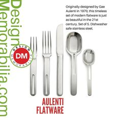 Aulenti Flatware designed by Gae Aulenti // #DesignMemorabilia #Italy #kichen #kitchenware #home #homedecor #shop #gift #creative #design #utensils #fork #spoon #flatware #GaeAulenti