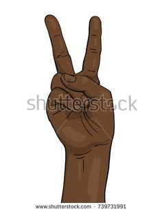 Vector black afro hand shows victory sign Two fingers, Illustration in sketch retro style isolated on white background