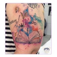 28 Ideas for tattoo watercolor disney harry potter - Tattoo Style Bookish Tattoos, Harry Tattoos, Literary Tattoos, Disney Tattoos, Body Art Tattoos, New Tattoos, Small Tattoos, Harry Potter Tattoos Sleeve, Tatoos