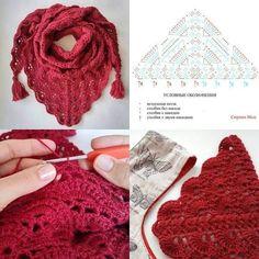 Knitting and Crochet Crochet Scarves, Crochet Shawl, Crochet Clothes, Crochet Lace, Crochet Stitches, Love Crochet, Easy Crochet, Lace Patterns, Crochet Patterns