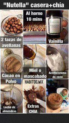 Nutella Vegana Casera - INGREDIENTES: Avellanas, vainilla, cacao, miel o mascabado, aceite de coco, leche de almendras & chia