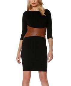 Black & Camel Faux Leather Banded Waist Dress
