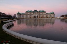 Belvedere castle around sunset in Vienna, Austria Vienna Austria, Live For Yourself, Christmas Lights, Dreaming Of You, Castle, Louvre, Romance, Sunset, World