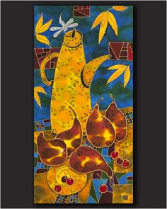 """Still Life With Pears (LFL-S1602) by Yelena and Stanislav Sidorov Painting on silk ~ 24"""" x 12"""""""