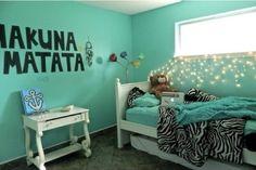 "Love this turquoise, aqua colour! ""Hakuna Matata"" Girl's bedroom for tween/teen"