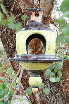 Handmade Yellow Raku Bird feeder 15 Metallic Ceramic Raku Birdfeeder Garden Decorations Patio Decor ** Clicking on the VISIT button will lead you to find similar product http://www.amazon.com/gp/product/B06W9F2MHV/?tag=buyamazon04b-20&pgr=260217205625