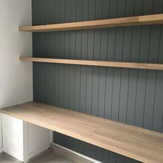 built in desk. VJ paneling grey white colour scheme - Office Desk - Ideas of Office Desk - built in desk. VJ paneling grey white colour scheme built in desk. VJ paneling grey white colour scheme – Office Desk – Ideas of Off… Built In Desk, Built In Shelves, Wooden Shelves, Built Ins, Book Shelves, Dresser Shelves, Grey Shelves, Wall Shelves, Floating Shelves