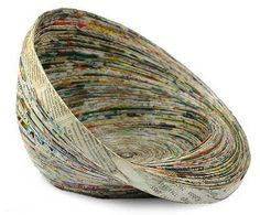 Recycled paper centerpiece, 'Waves' - Modern Recycled Paper Bowl Centerpiece from Central America (image Recycle Newspaper, Newspaper Basket, Newspaper Crafts, Recycle Paper, Reuse Recycle, Recycled Paper Crafts, Recycled Magazines, Upcycled Crafts, Cardboard Crafts