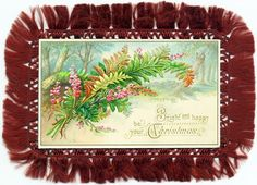Victorian fringe-work fern postcard - 'Bright and happy be your Christmas'