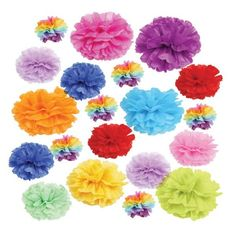 Tissue paper pom poms for colour.